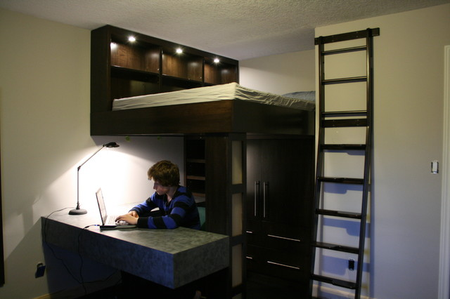 Kids room to mini man cave traditional bedroom toronto by jws woodworking and design inc - Small space man cave model ...
