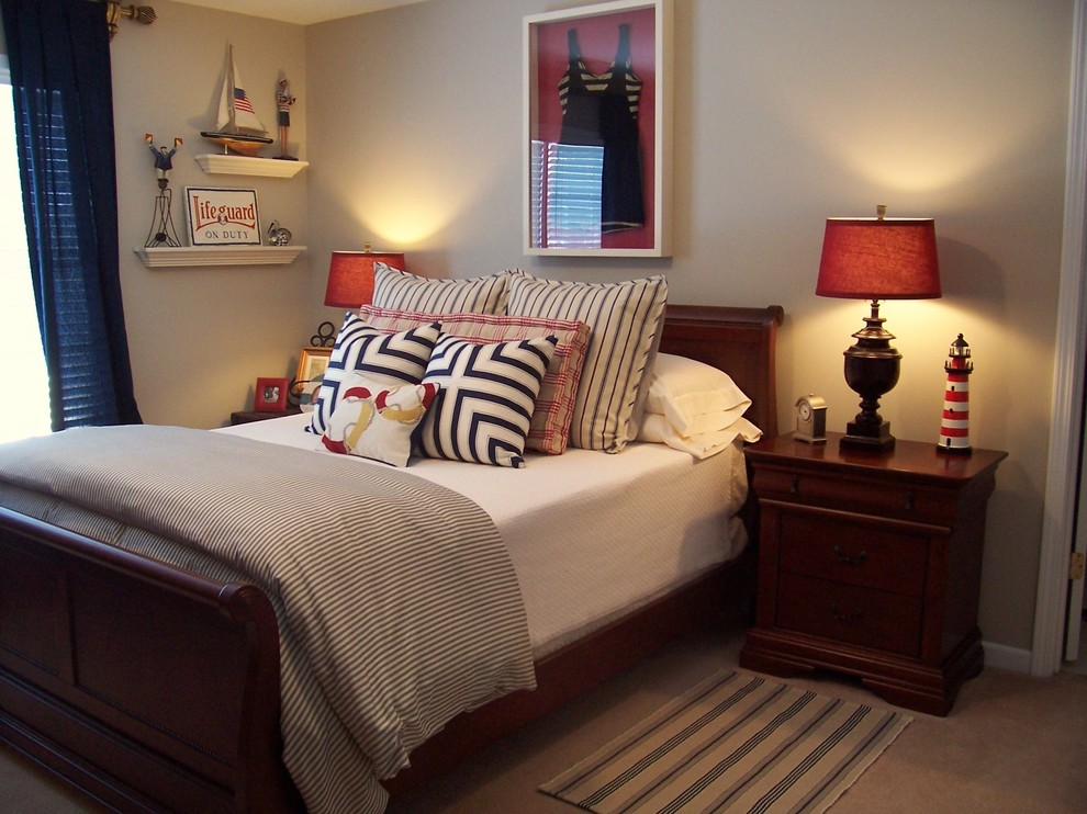 Inspiration for a coastal carpeted bedroom remodel in Atlanta with gray walls