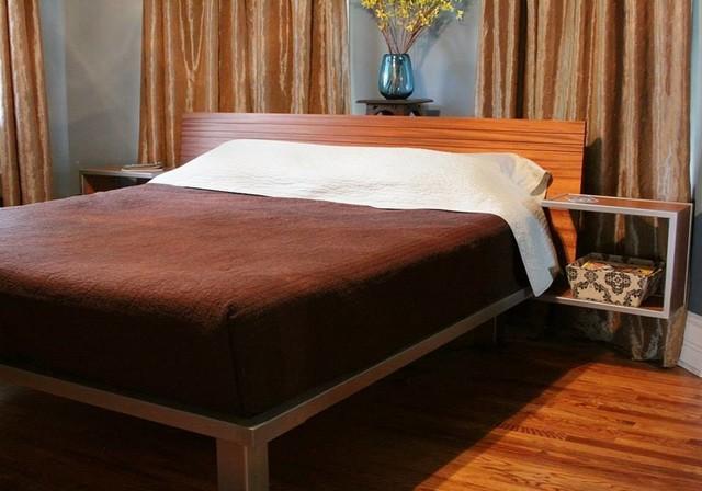King Platform Bed With Floating Side Tables Modern