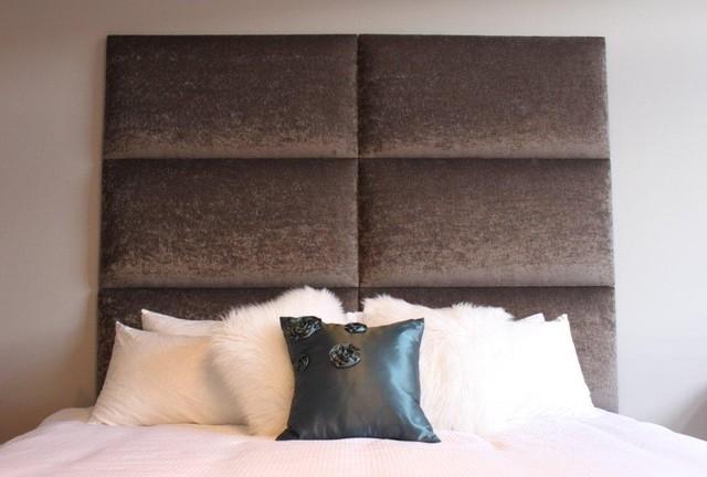 King Upholstered Headboard Panels Contemporary Bedroom