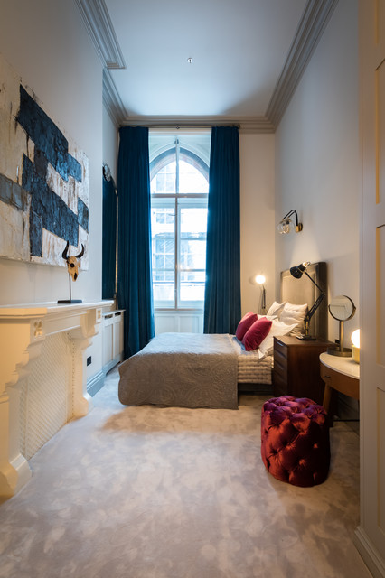 Design Ideas For A Contemporary Bedroom In London With White Walls Carpet And Grey Floors
