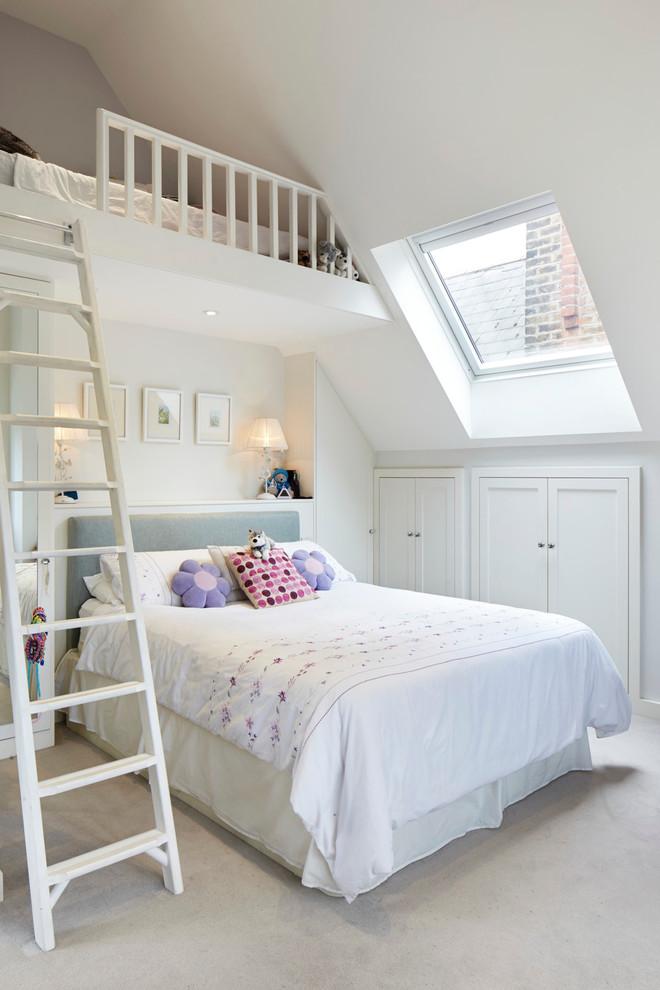Elegant loft-style bedroom photo in London