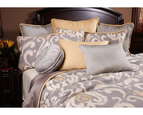 Bedding 2013 - KOOPER: A Cadet Grey modern scroll pattern with highlights of Lemon Chiffon gives any room a neutral but artistic feel.