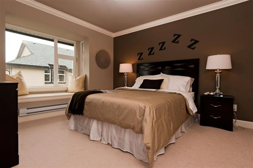 What is the dark brown paint color on the accent wall? - Houzz