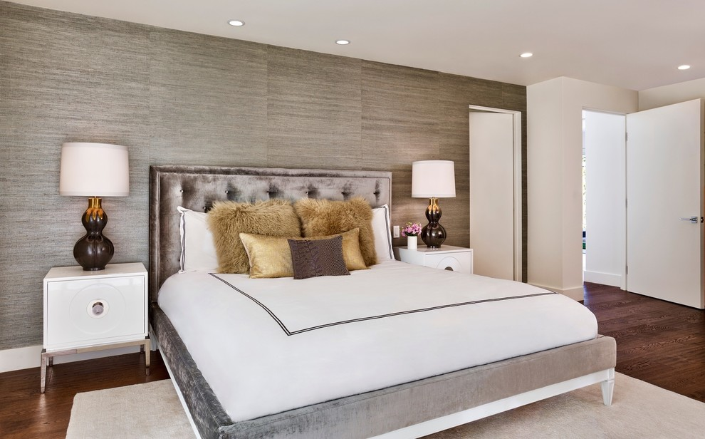 Inspiration for a large contemporary master medium tone wood floor bedroom remodel in Orange County with gray walls