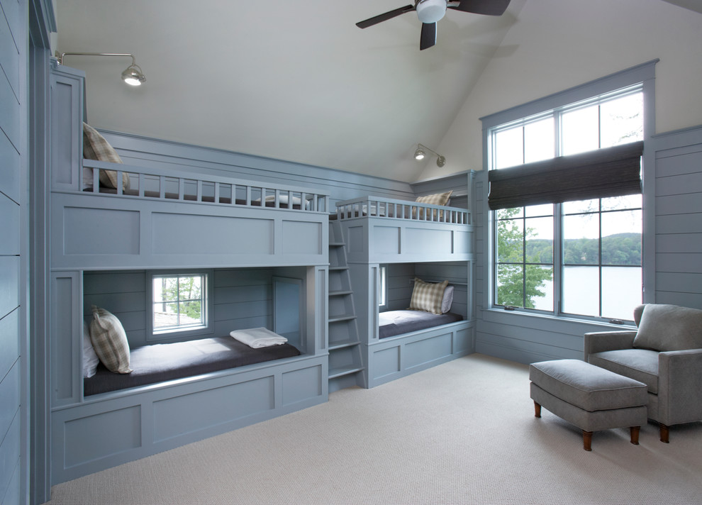 Inspiration for a huge timeless guest carpeted bedroom remodel in Other with blue walls