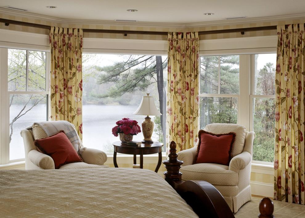 Elegant bedroom photo in Boston with multicolored walls
