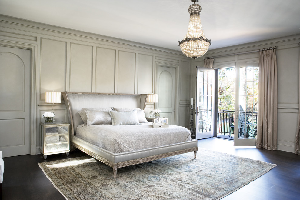 Bedroom - large transitional master dark wood floor bedroom idea in Other with gray walls