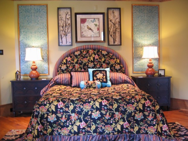 Lake Toxaway Showhouse eclectic-bedroom