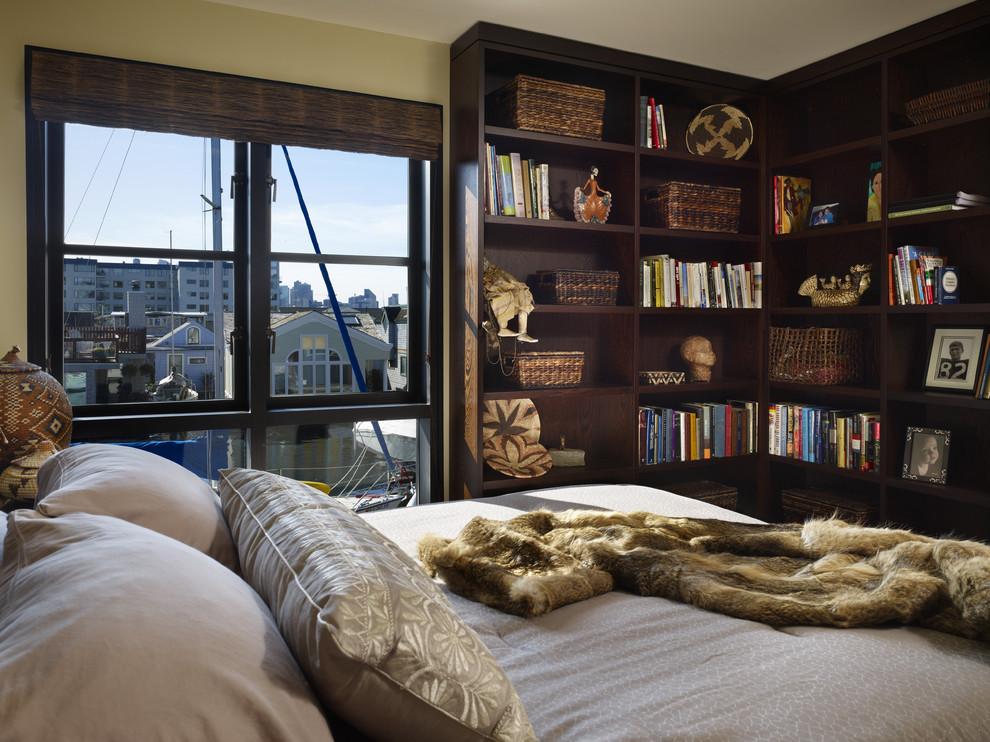 Trendy guest dark wood floor and brown floor bedroom photo in Seattle with green walls