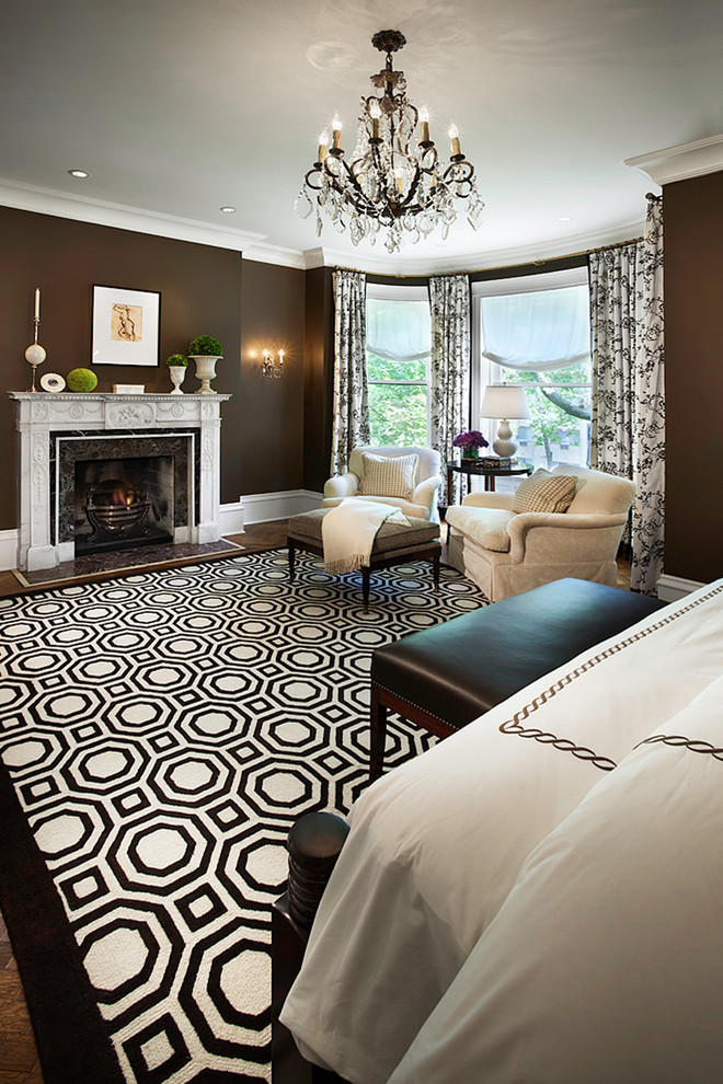 Elegant bedroom photo in Chicago with brown walls