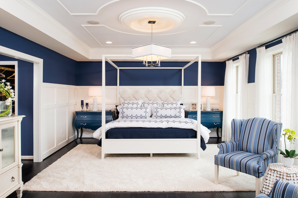 Transitional master dark wood floor bedroom photo in DC Metro with multicolored walls