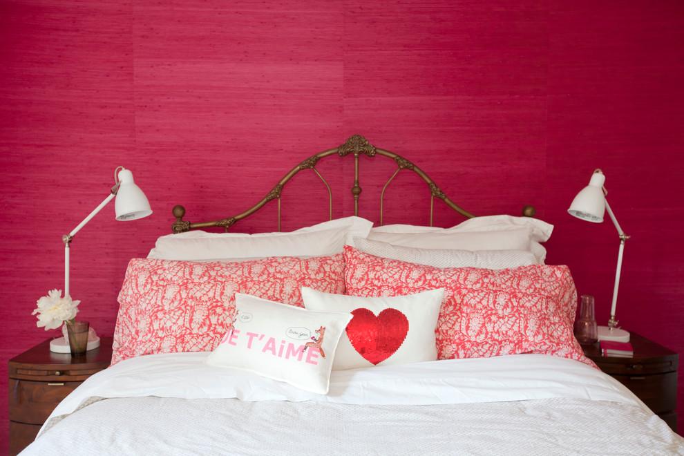 Bedroom - eclectic bedroom idea in Vancouver with pink walls