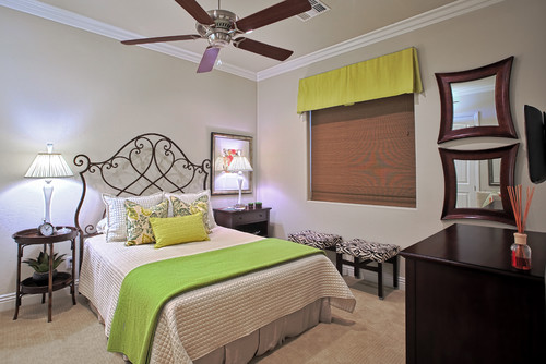 Neon Green Accents in Bedroom