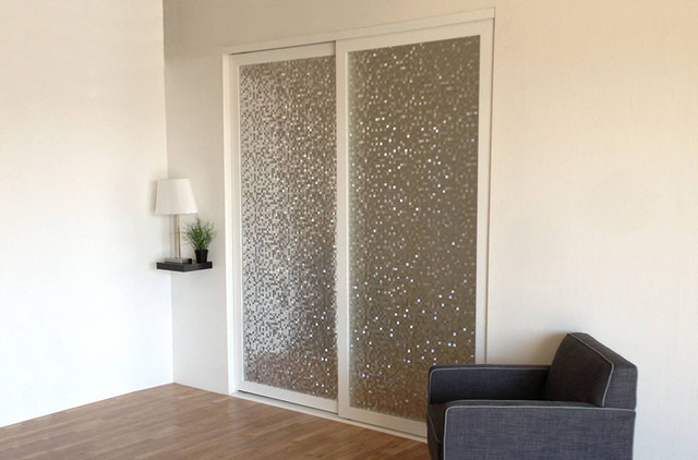 Layered Glass Sliding Closet Doors Room Dividers Contemporary Bedroom Los Angeles By