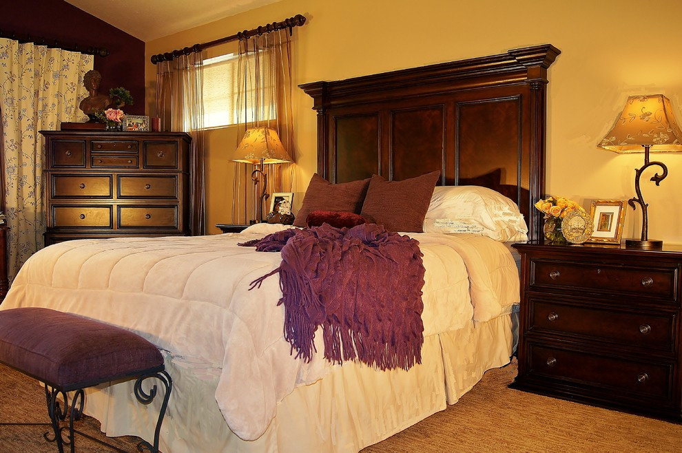 Example of a mid-sized classic master carpeted and beige floor bedroom design in Salt Lake City with multicolored walls