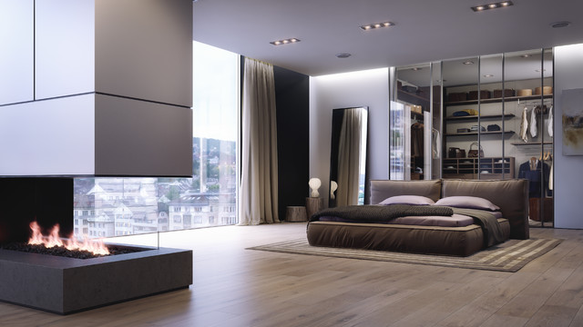 Inspiration For A Large Modern Master Light Wood Floor Bedroom Remodel In Other With Two