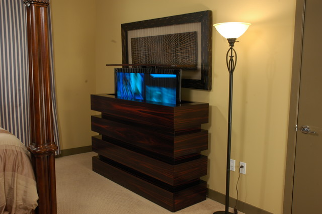 Le bloc tv lift cabinet in bedroom tv lift cabinets by for Modern bedroom cabinets