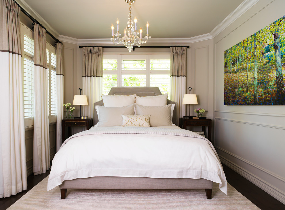 Inspiration for a transitional dark wood floor bedroom remodel in Toronto with gray walls and no fireplace