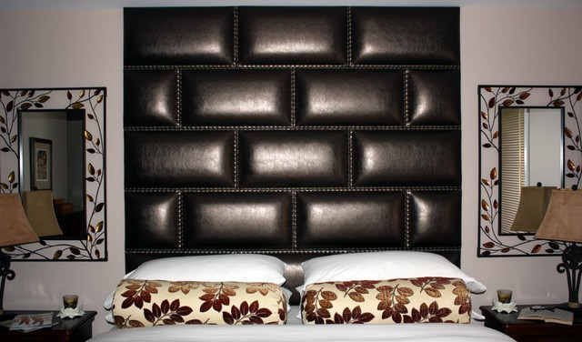 Leather Nail Upholstered Wall Panelled Headboard Contemporary Bedroom