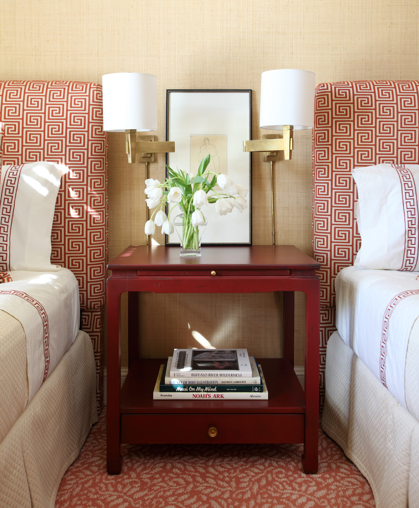 Inspiration for a mid-sized transitional guest carpeted bedroom remodel in Little Rock with beige walls