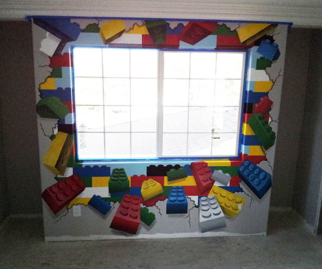 Room 2 Build Bedroom Kids Lego: Lego Mural In Lego Themed Kid's Room
