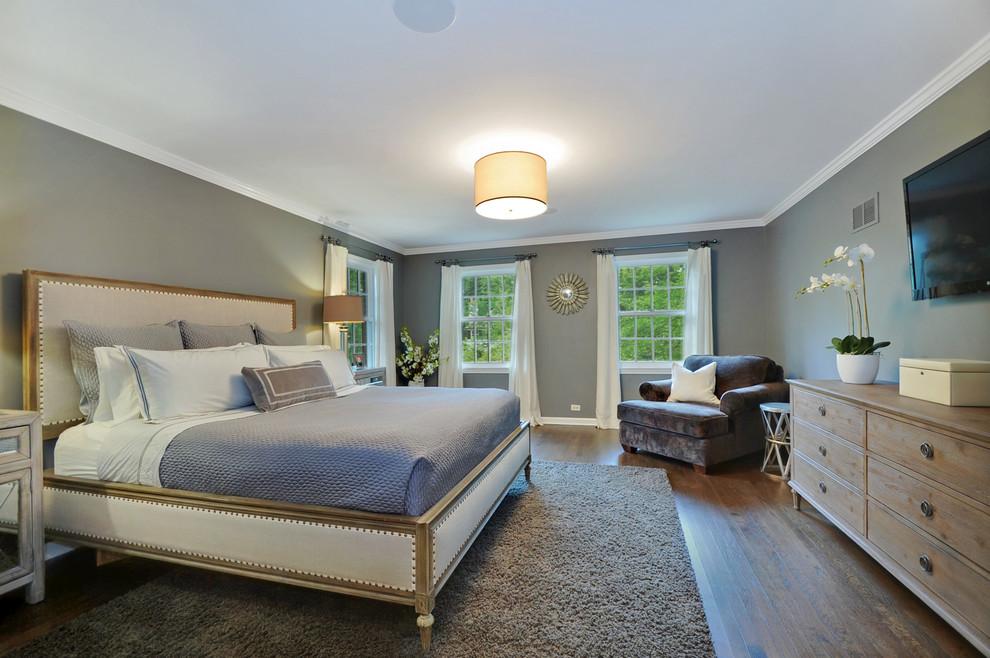 Ejemplo de dormitorio actual con paredes grises