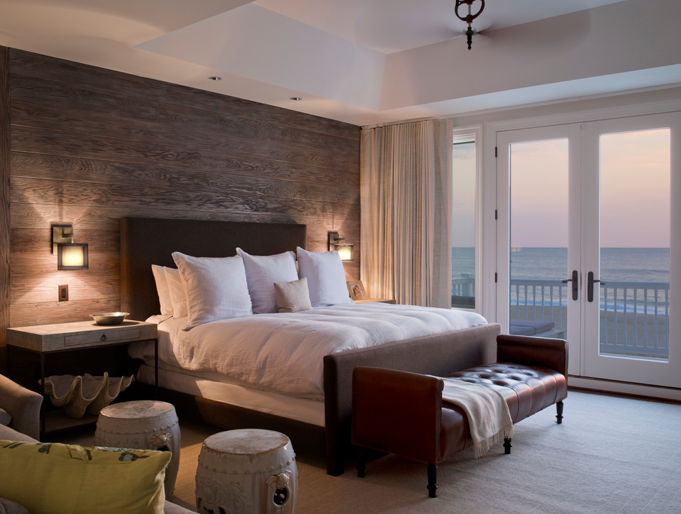 Inspiration for a mid-sized coastal master bedroom remodel in Baltimore with brown walls