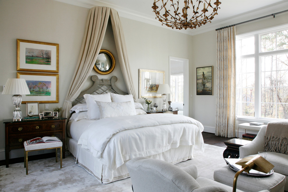 Inspiration for a transitional master dark wood floor and brown floor bedroom remodel in Atlanta with beige walls