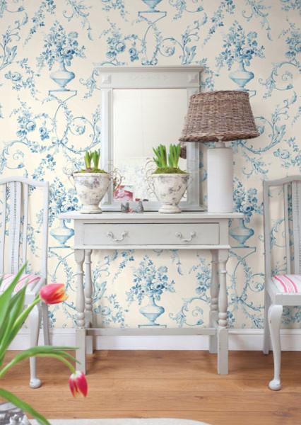 Light Blue Floral Urn Wallpaper - Traditional - Bedroom ...