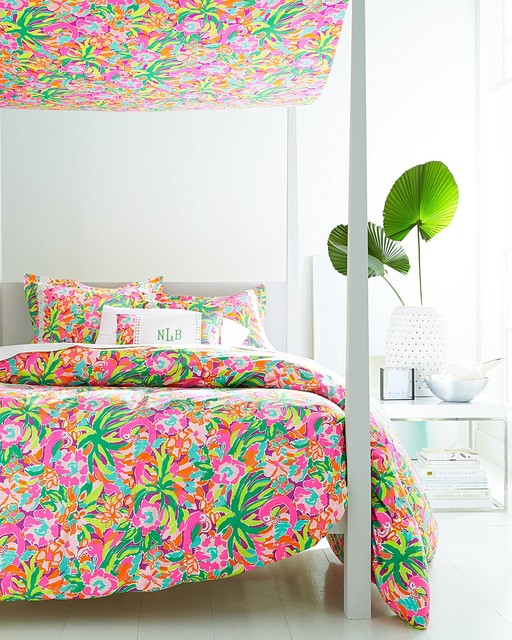 Lilly pulitzer lulu bedroom tropical bedroom for Kitchen colors with white cabinets with lilly pulitzer wall art