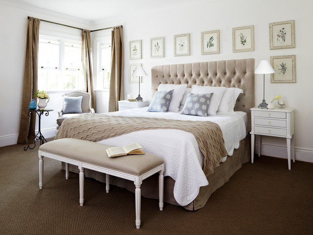 Linen buttoned bedhead collection traditional bedroom sydney