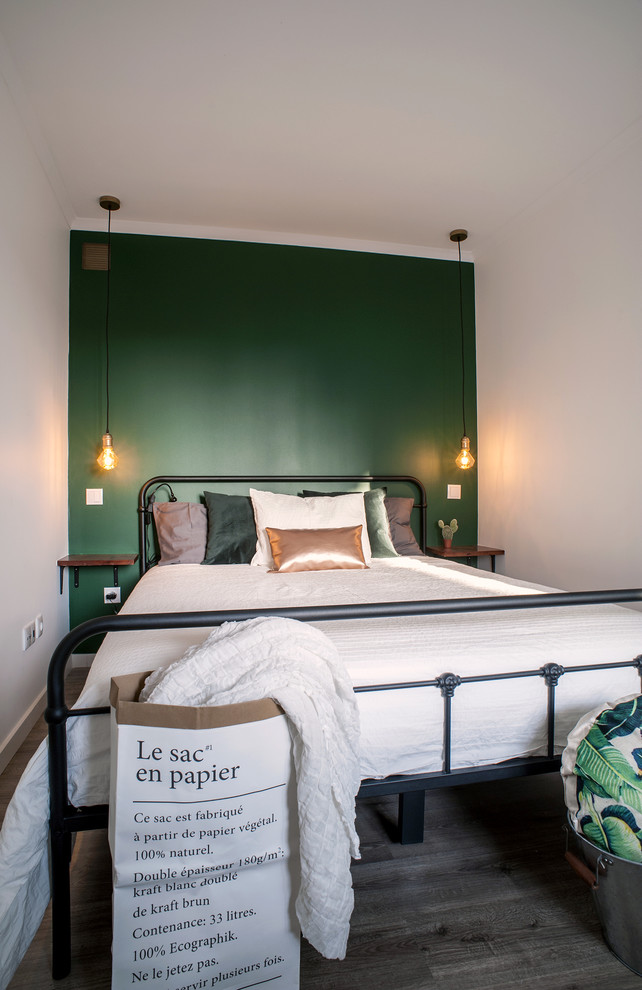 Bedroom - small transitional master linoleum floor and gray floor bedroom idea in Other with green walls and no fireplace