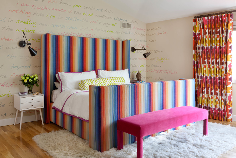 Inspiration for a contemporary light wood floor bedroom remodel in Denver with multicolored walls