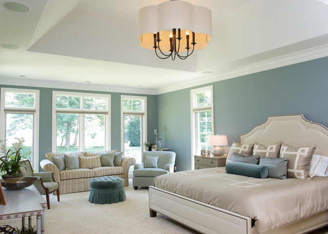 Living on the lake traditional bedroom cleveland for Duck egg blue and cream bedroom ideas