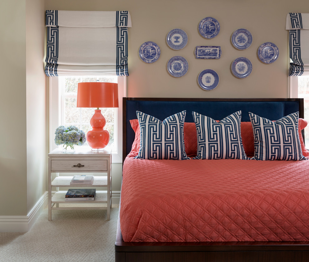 Inspiration for a large transitional guest carpeted bedroom remodel in Little Rock with beige walls and no fireplace