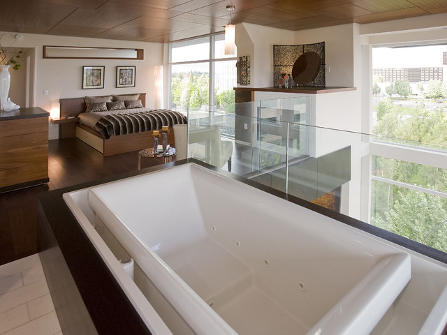loft bedroom bathroom suite modern bedroom portland by
