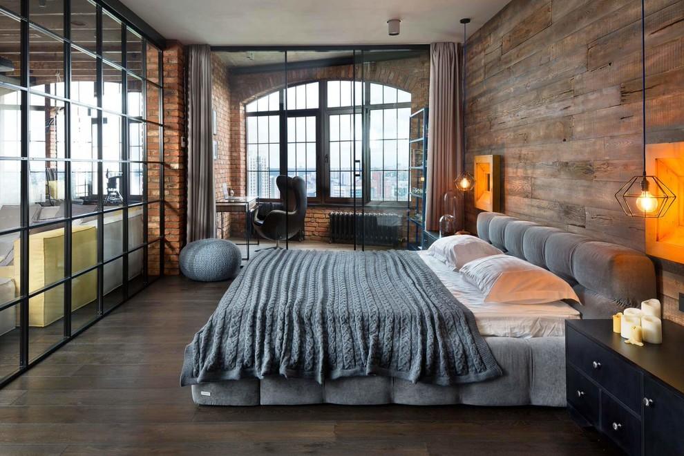 Bedroom - industrial dark wood floor bedroom idea in Toronto
