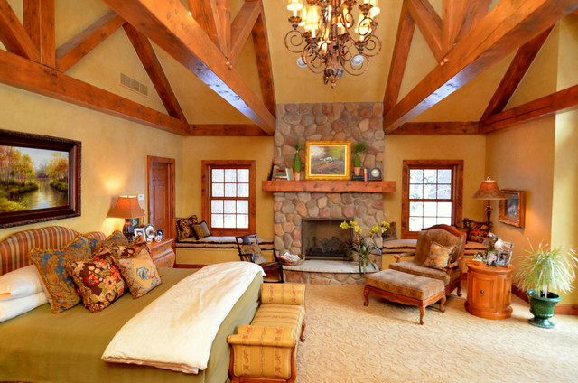 Log Home Master Suite Addition Rustic Bedroom Detroit By Town And Country Interiors