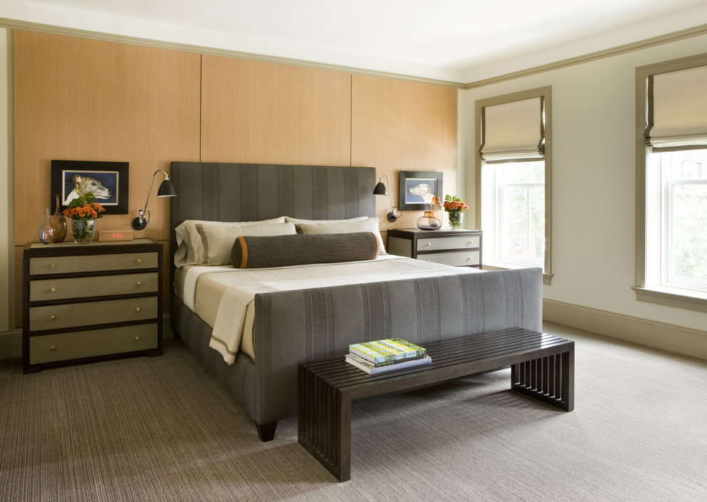 Bedroom - large transitional master carpeted and gray floor bedroom idea in DC Metro with beige walls and no fireplace