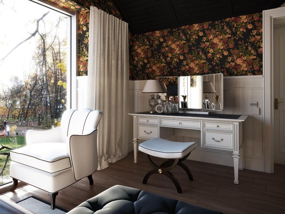 Bedroom - transitional dark wood floor bedroom idea in Sacramento with beige walls