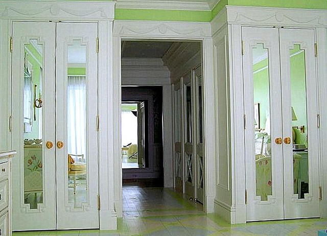 Louis XVI, Gustavian Influenced Closet Doors With Inset Mirrors Traditional  Bedroom