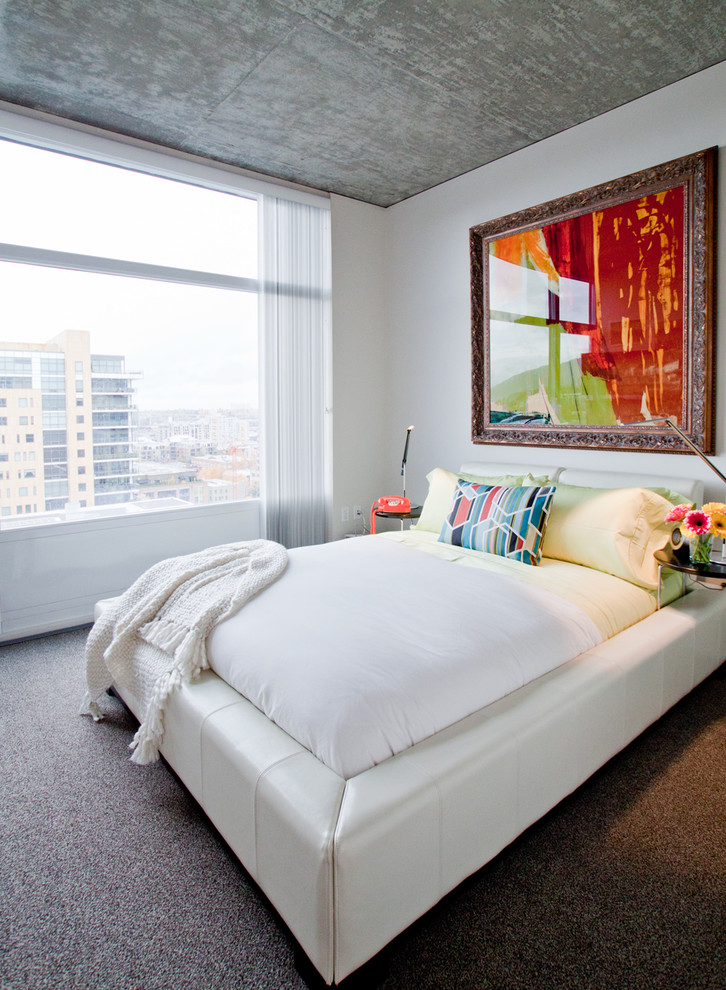 Inspiration for a mid-sized modern master carpeted and gray floor bedroom remodel in Portland with white walls