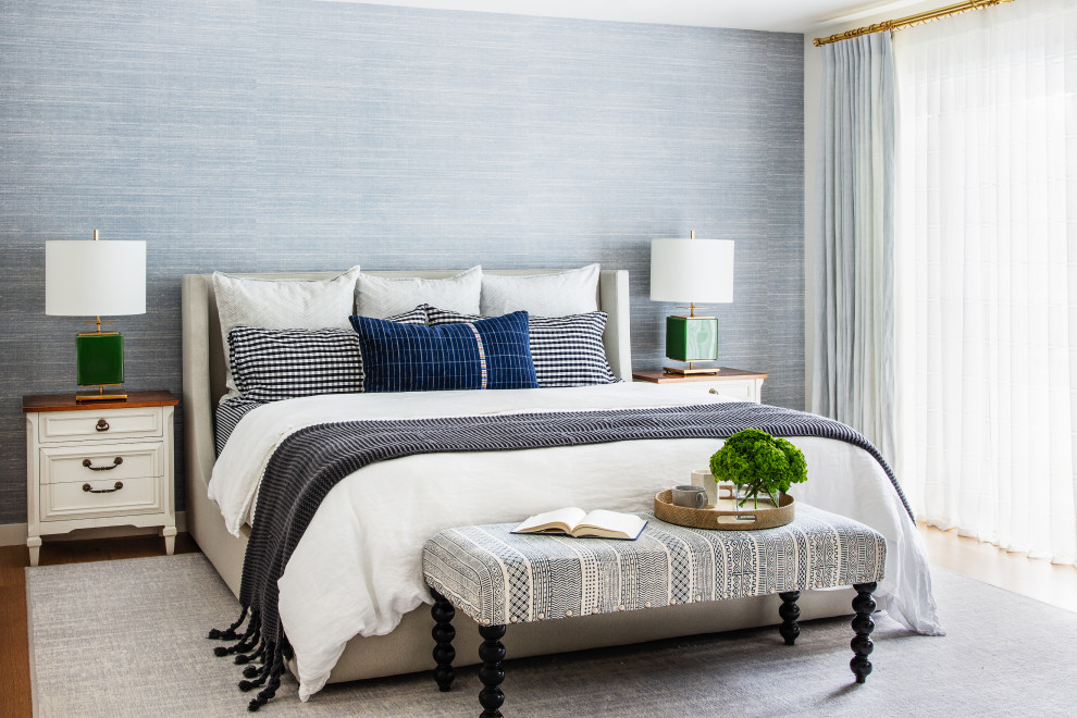 Inspiration for a mid-sized transitional master beige floor bedroom remodel in San Francisco with blue walls