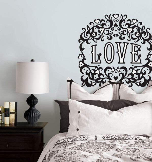 Love Wall Art with flock finish by Jonathan Adler for WallPops eclectic-bedroom