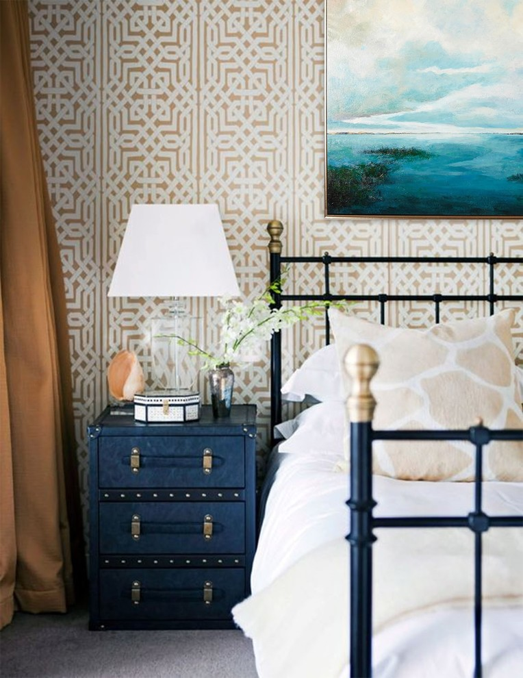 Inspiration for a mid-sized transitional guest carpeted and gray floor bedroom remodel in Tampa with beige walls and no fireplace