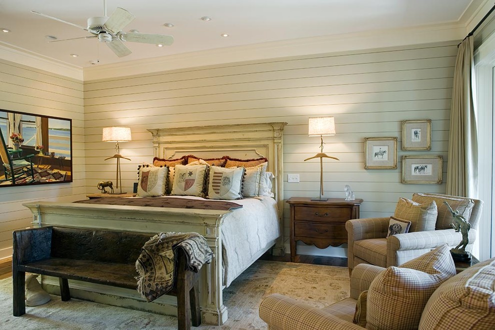 Bedroom - rustic carpeted bedroom idea in Charleston with gray walls and no fireplace