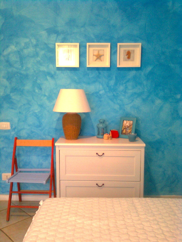 Bedroom - farmhouse bedroom idea in Other with blue walls