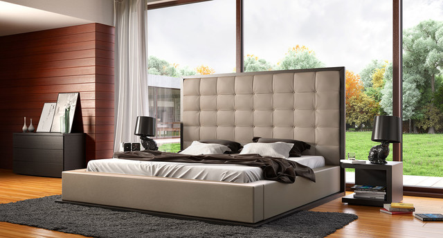 II Taupe Leather Queen Platform Bedroom Set In Wenge Modern Bedroom