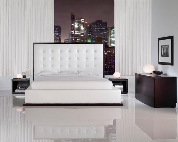 ludlow ii white leather queen platform bedroom set in